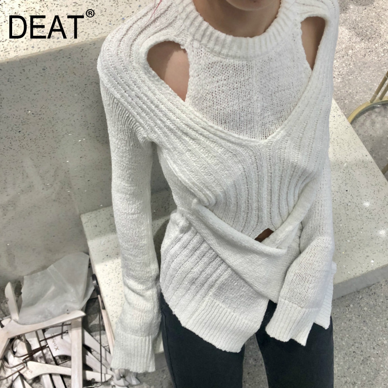 DEAT 2020 New Spring Solid Color Round Collar Hollow Out Pullover Sweater Women Vintage Slim Temperament Split Knit Tops PD714