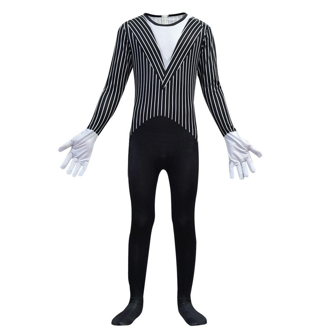 Anime Jack Skellington Kids Cosplay Costume Christmas Carnival Fancy Black Stripe Jumpsuit+Mask Children Boys Clothes C46599CH 3