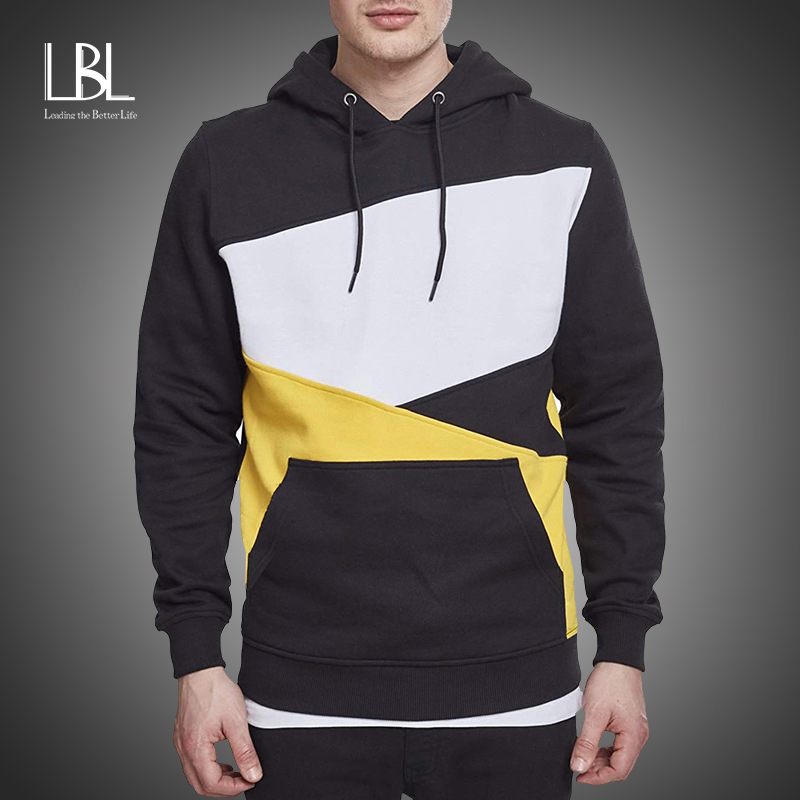 Mens Hoodies Sweatshirt 2020 Streetwear Patchwork Hoody Pullover Black White Red Hoodie Men Winter Fleece Sweatshirts Clothing