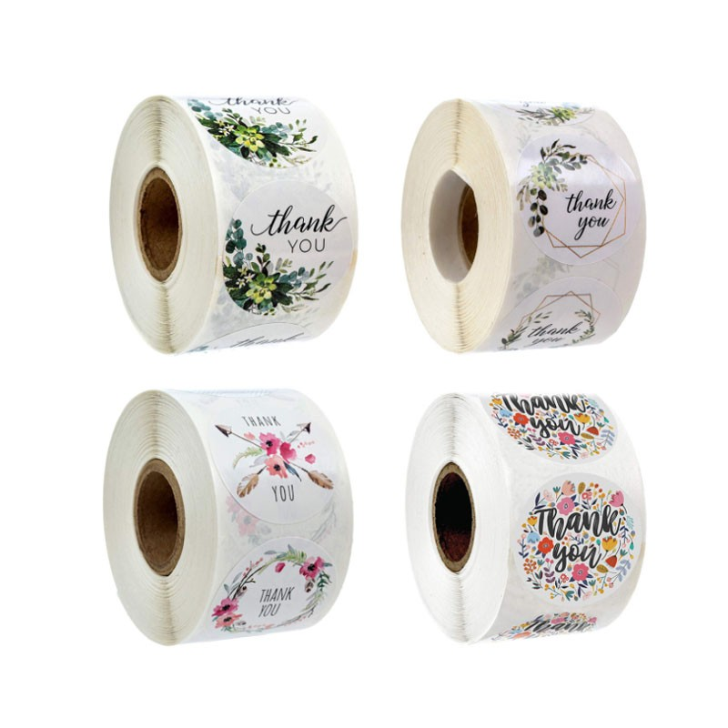 500pcs/roll 1 inch flower thank you scrapbook label for business cake baking Hand account notes sealing sticker