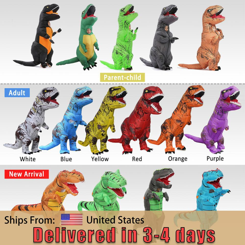 Adult T-rex Trex Inflatable Dinosaur Costume Halloween Blow Up Costume For Women Men Animal Cosplay  Party Fantasia Disfraces