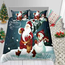 Thumbedding Cartoon Santa Claus Bedding Set For Christmas Green Cute 3D Duvet Cover Kids King Queen Twin Full Single Bed Set(China)