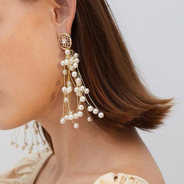 New Boho White Imitation Pearl Round Circle Hoop Earrings Women Gold Color Big Earings Korean Jewelry Brincos Statement Earrings 5