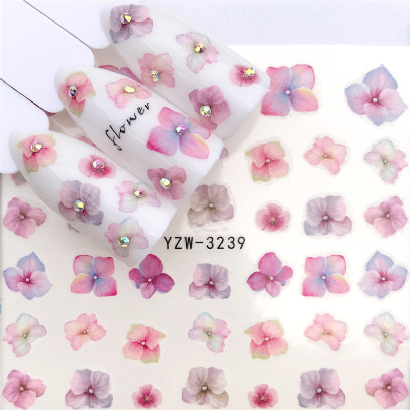 YWK 38 Styles Pink Plum/Butterfly/ Flower Water Transfer Nail Sticker Decals Beauty Decoration Designs DIY Color Tattoo Tip