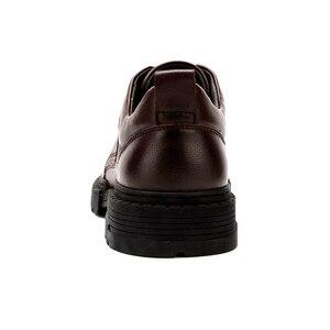 Image 3 - Zapatos de hombre de cuero genuino CAMEL Otoño, vestido de negocios inglés, zapatos de papá cómodos informales, calzado antideslizante de cuero cabelludo grande para hombre
