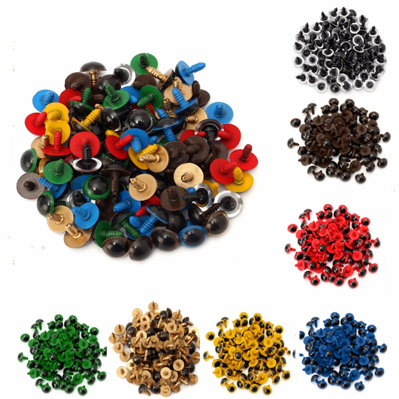20PCS Colorful 10mm/14mm Plastic Safety DIY Doll Toy Eyes For Animal Puppet Crafts Bear Dolls Accessories With Washers