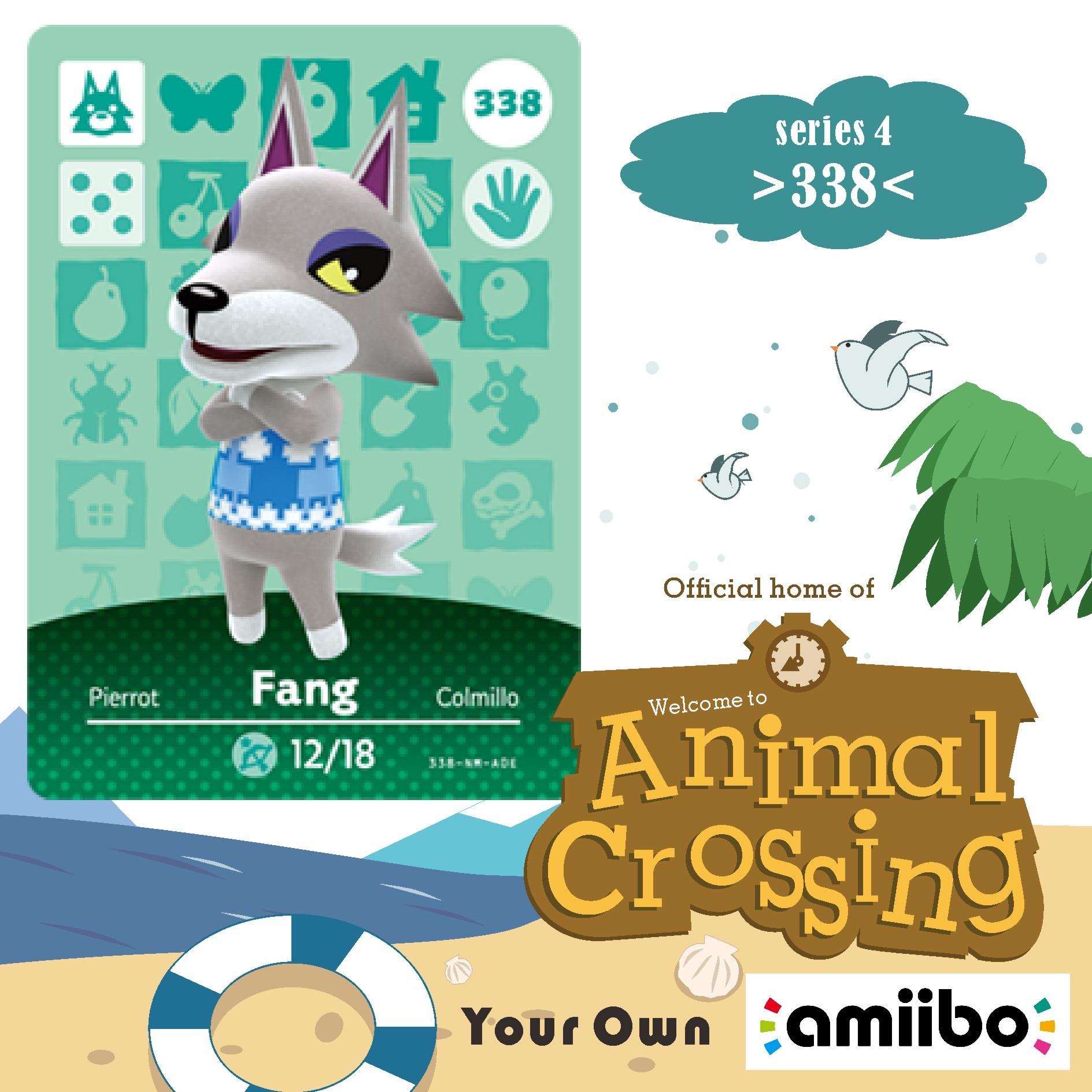 338 Animal Crossing Amiibo Card Fang Amiibo Card Animal Crossing Series 4 Fang Nfc Card Work For Ns Games Dropshipping