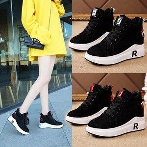 Image 5 - Zapatillas de invierno cálidas de felpa para mujer, zapatos informales con tacón de piel sintética con cordones, zapatos de mujer con forma de cuña, zapatillas de plataforma negras XU055