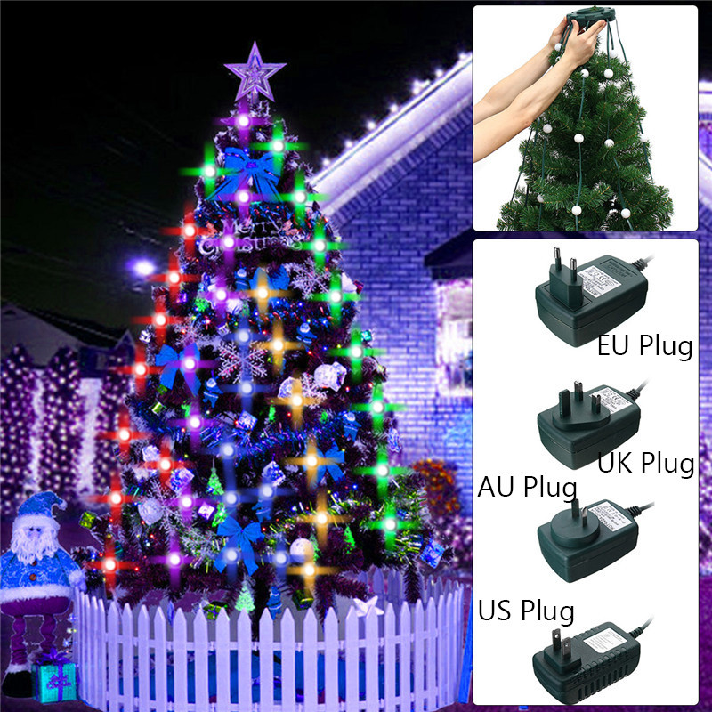 LED Lighting Christmas Tree Set Colorful 48/64 LED String Light Fiber Optical Holiday Light Ball Bulb Lamp For Christmas Dec