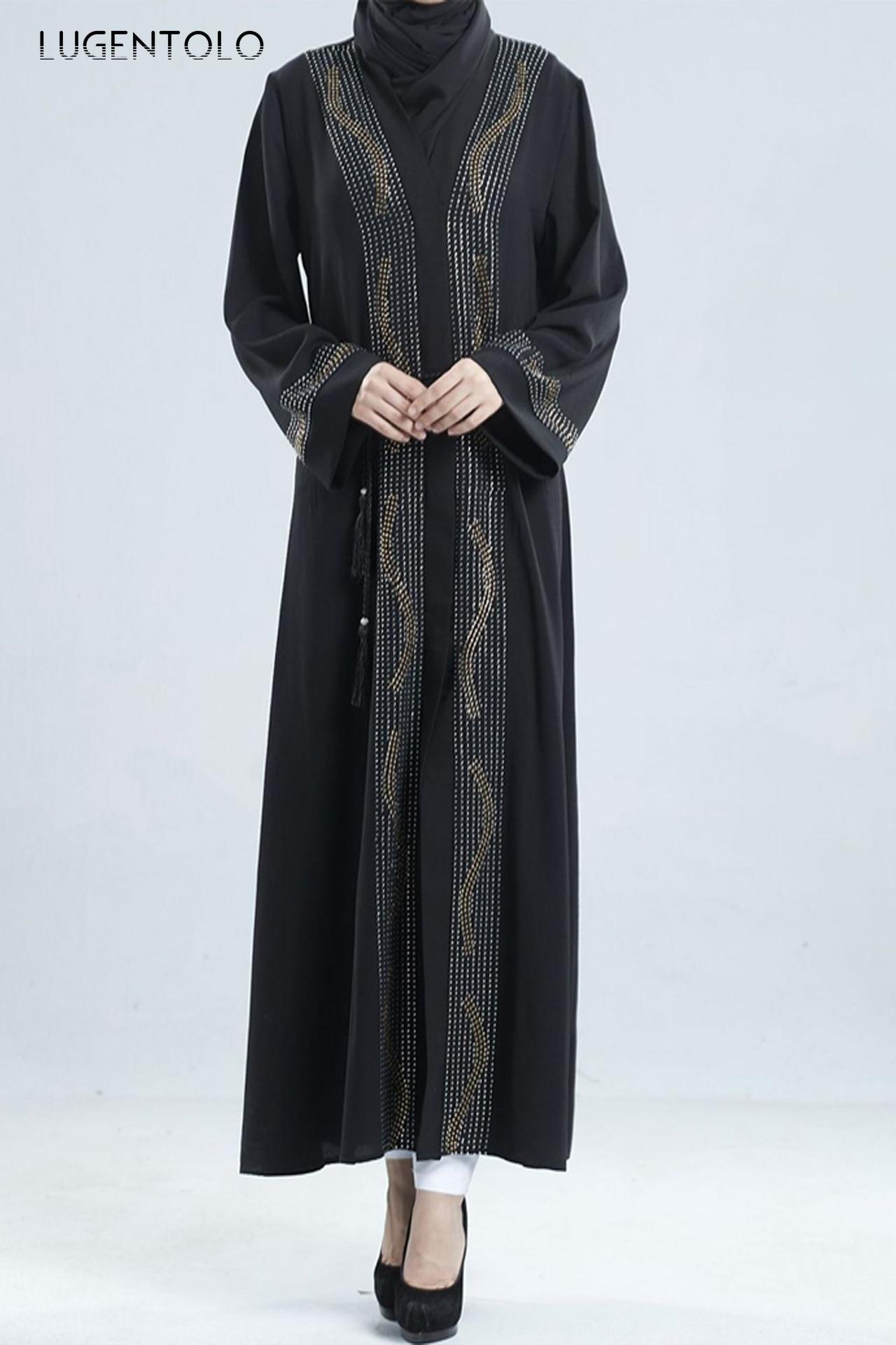 Lugentolo Women Vintage Dress Loose Hot Drilling New Fashion Muslim V-neck Cardigan Big Swing Dress Abaya Lady Casual Maxi Dress