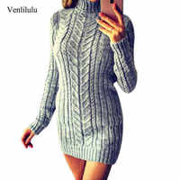 2019 Autumn Long Sweater Women High Neck Sweater Winter Women Warm Knitted Turtleneck Sweater Ladies Long Sweater Dress Pullover