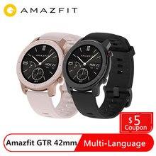Amazfit GTR 42 مللي متر ساعة ذكية النسخة العالمية 12 وسائط رياضية معدل ضربات القلب الصحة 12 أيام بطارية GPS 5ATM مقاوم للماء Smartwatch