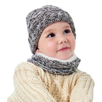 Dzieci Plus aksamitne pomyśl ciepłe czapki z dzianiny czapki dziecięce szaliki czapki zestawy zimowe dziewczyny chłopcy szalik czapki czapki dla dzieci czapka szalik tanie i dobre opinie Faroonee WOMEN Poliester Baby s Scarfs Hats Sets Stałe Szalik Kapelusz i rękawiczki zestawy Moda