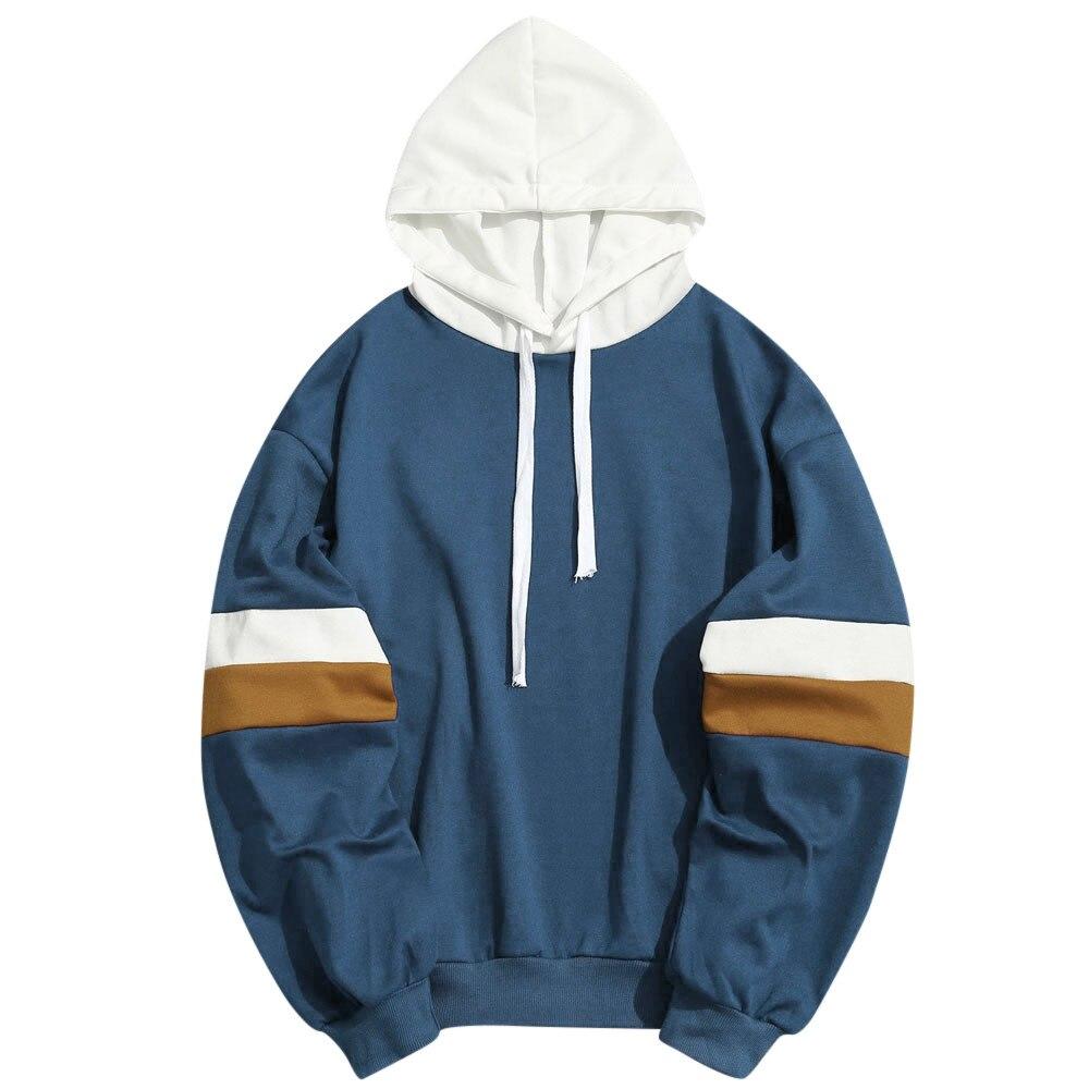JAYCOSIN Men Blouse Slim Fit Hoodie Outwear Man Blouse Sweatshirt Patchwork long sleeve Casual Polyester fashion tops winter tee