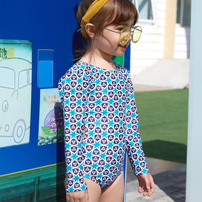 KID'S Swimwear GIRL'S Sexy Backless Dress Big Boy South Korea Beach Holiday Girls One-piece Long Sleeve Tour Bathing Suit