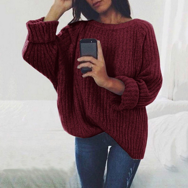 Women Solid O Neck Knitted Sweater 2019 Autumn Winter Fashion Female Pullover Sweaters Ladies Loose Knitwear Dropship