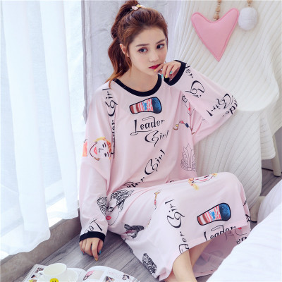 Long Sleeve Nightgown Women's Autumn And Winter Powder Head Skirt M-XXL (17) Thick Double-Sided Fight A Lot Of Usable Figure