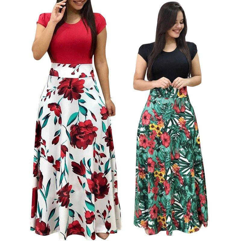 Vendas quentes plus size vestido de verão feminino 2020 retalhos vintage floral vestidos longos casual o pescoço manga curta boho praia vestido