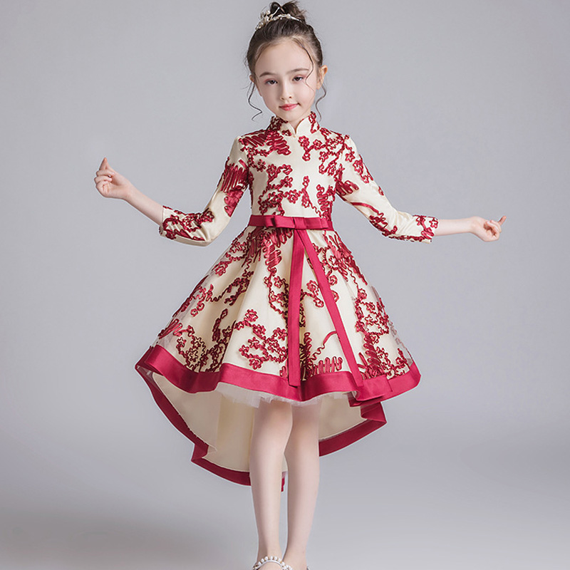 2019 Autumn Girl Princess's Birthday Party Dance Performance Tail Cheongsam Dress Children's Campus Party Screen Sleeve Dress