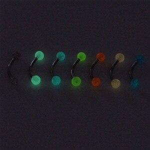 7 шт./компл. светится в темноте шариковая штанга, кольца для бровей, бижутерия для пирсинга