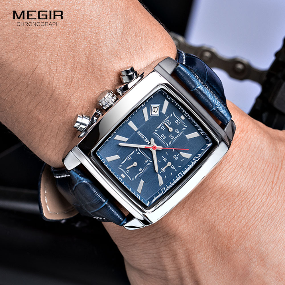 Megir Rectangle Dial Leather Strap Watch for Men Casual Blue chronograph quartz watches Man Wristwatch montre reloj часы мужские 4