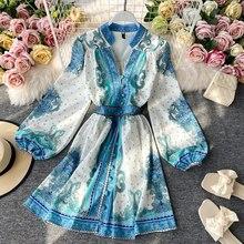 Robe de printemps et d'automne pour femmes, Style palais français, à manches longues, manches lanternes, robes trapèze amples et fines, LL340
