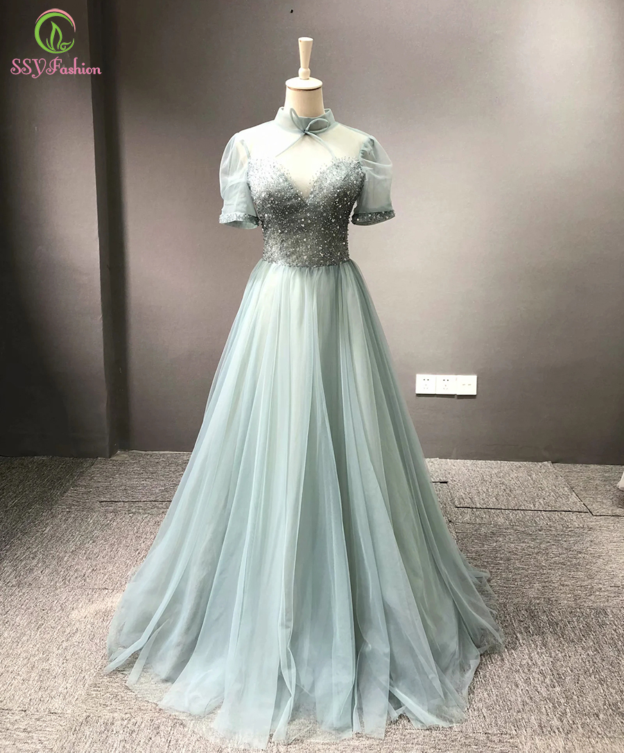 SSYFashion New Romantic Grey Green Evening Dress Banquet Elegant High-neck Crystal Beading Long Formal  Gown Vestidos De Fiesta