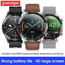 T03 Смарт-часы Для мужчин 24 часа непрерывного тела Температура монитор IP68 ЭКГ Smartwatch сердечного ритма Фитнес браслет против L15 L13.