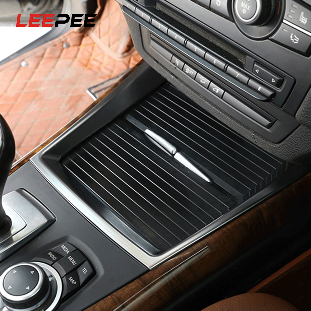 Steel Interior Water Cup Holder Decoration Cover Trim For BMW X5 E70 2008-2013