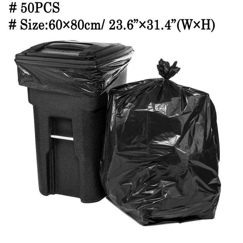 50 Pcs Big Capacity Trash Bag Heavy Duty 15 Gallon Extra Large Commercial Trash Bag Garbage Yard Black Hotel Market Trash Bags