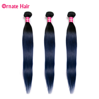 Ornate Ombre Hair Bundles Straight Hair 3 Bundles Malaysia Hair Extension Two Tone 100% Human Hair Weave 8 28 Inch Non Remy Blue