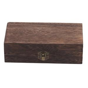 Natural Wooden Storage Box With Lid Golden Lock Postcard Sundries Organizer Handmade Craft Jewelry Case Home Wooden Box