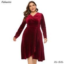 цена на Wine Red Velvet Dress 5XL Plus Size V Neck Long Sleeve Elegant Party Dress High Waist Autumn Midi Dress 2019 Fashion Women Dress