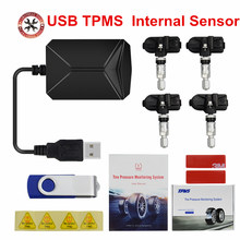 Auto Universele TPMS Auto Bandenspanningscontrolesysteem TPMS LCD Display met 4 Interne Sensoren USB Oplader Voor alle Auto S