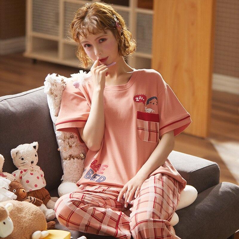 Women Pajamas Set Spring New Thin Cartoon Printed Short Sleeve Cute Sleepwear Casual Homewear Female Pyjamas Homewear Loungewear