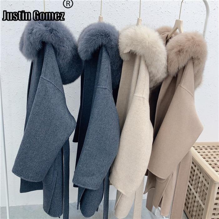 Brand Famous Elegant Ladies Real Cashmere Wool Coat Women  Luxury Trendy Feminine Coat Casacos Female Outerwear