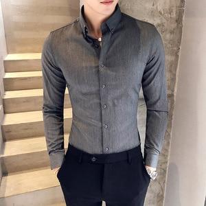 Image 4 - British Style Shirt Men Autumn Formal Wear Solid Men Dress Shirts Long Sleeve All Match Slim Fit Casual Social Shirt Male 3XL M