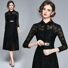 Женское платье с поясом simgent Черное длинное средней длины