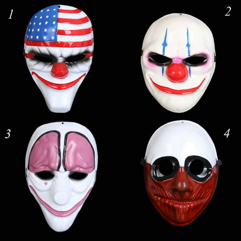 1PC Wholesale PVC Halloween Mask Scary Clown Party Mask Payday 2 for Masquerade Cosplay Halloween Horrible Masks
