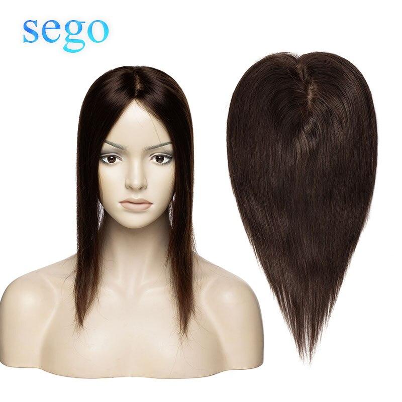 SEGO 6x13 15x16cm 12'' Non-Remy Silk Base Topper Toupee For Women Hair Piece Clip In Hair Extensions Brazilian 100% Human Hair