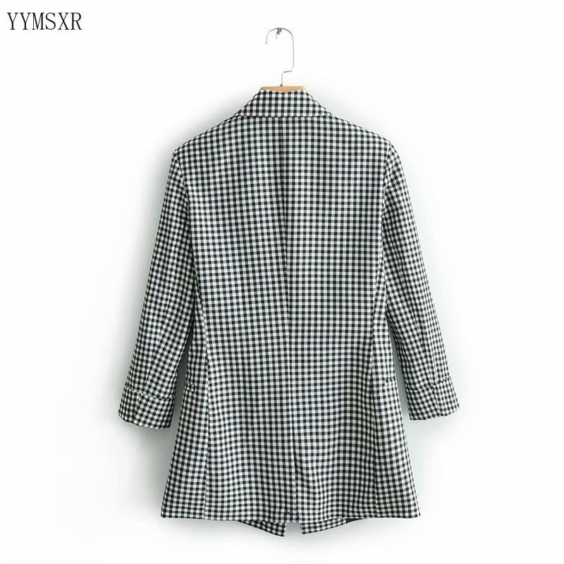 Women's Plaid Blazer Feminine Jacket Coat 2020 New Double-Breasted Slim Plaid Ladies Small Suit Top Elegant women's clothing
