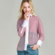 Хавва Ранняя весна Новое поступление Женская Лоскутная полосатая рубашка с длинными рукавами хлопковая блузка, рубашка C3165