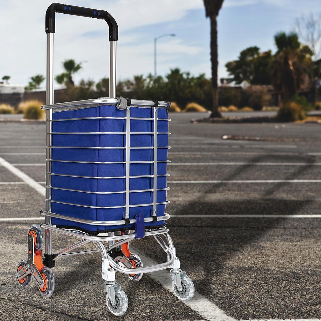 Travel Shopping Cart Aluminum Folding Swivel Wheel Grocery Laundry Cart