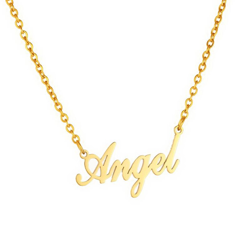 Fashion Jewelry Gold Angel Letter Necklace Name Pendants Gothic Collares Stainless Steel Ketting Chocker Lovely Gift for the Mom image