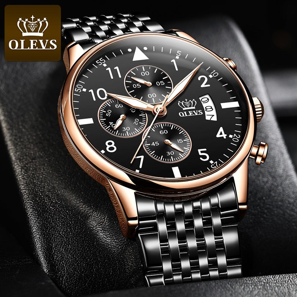 OLEVS Top Original Men's Watch Fashion waterproof watch for men Multifunctional chronograph