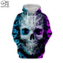 Men women Halloween costume ice and fire retro skull floral print 3d hoodies harajuku tshirt Sweatshirts zipper unisex Pullover men skull and floral print tee