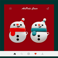 Custodia per auricolari in Silicone per cartoni animati per Apple Airpods 1 2 3D simpatico pupazzo di neve di natale copertura per cuffie decorazione scatola di ricarica