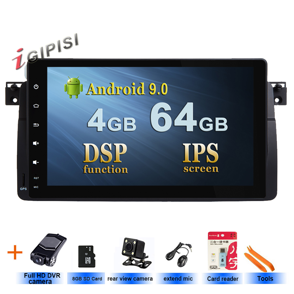 64G DSP AutoRadio 1 Din Android 9.0 Auto DVD Player Fü<font><b>r</b></font> BMW <font><b>E46</b></font> M3 318/320/325/ 330/335 Rover 75 1998-2006 GPS Navigation BT Wifi image