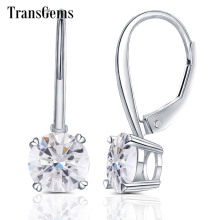 Transgems 14K 585 White Gold 2ct 6.5mm Color Clear Heart Arrows Cut Moissanite Hoop Earring for Women Gold Moissanite Jewelry