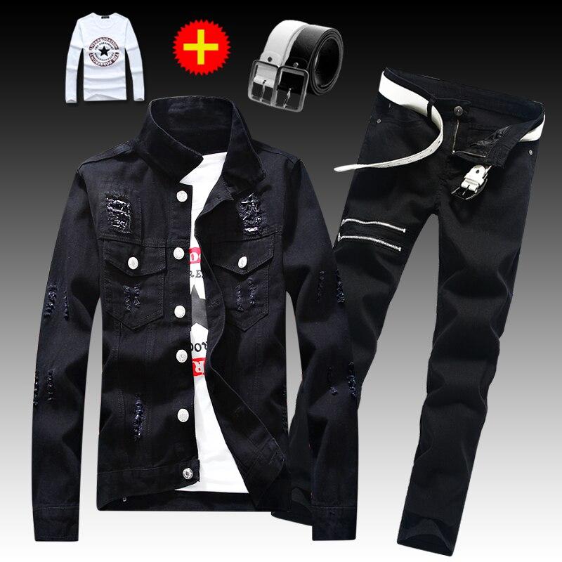 Spring Autumn Male Jeans Jacket Ripped Holes Coat Denim Coats Straight Trousers Pencil Pants 2pcs Set Pockets Slim Fit For Men E